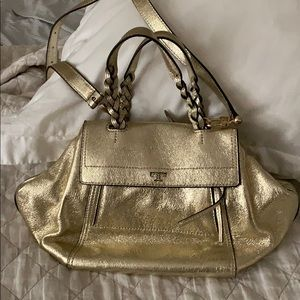 Tory Burch halfmoon Metallic Gold Leather bag